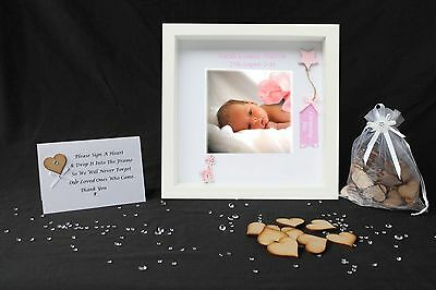 Personalised Christening Baby Girl Drop Box Guest Book Photo Guestbook Frame