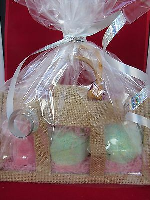 Luxury JUMBO Bath Bomb and Soap Fragranced Gift Set in Natural Clear Window Bag