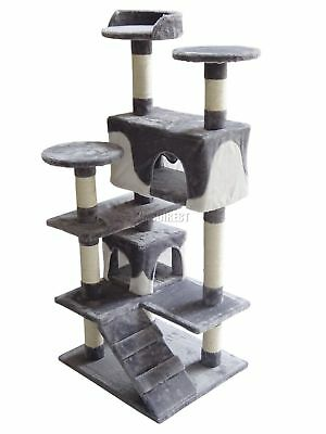 FoxHunter Kitten Cat Tree Scratching Post Sisal Toy Activity Centre Grey CAT005