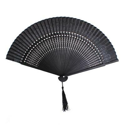 Vintage Silk Bamboo Flower Folding Pocket HAND FAN for Wedding Dancing Party
