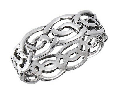 925 STERLING SILVER CELTIC INFINITY KNOT RING 6mm WIDE-WEDDING BAND FINGER THUMB