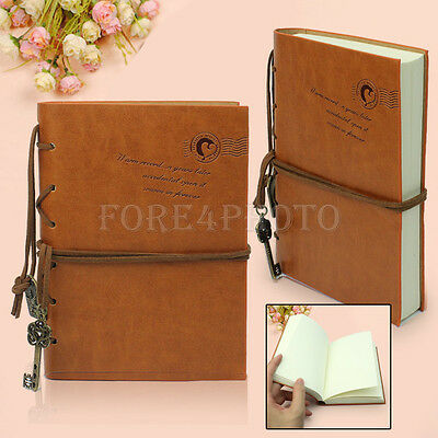 Unique Vintage Leather Bound Key Blank Pages Notebook Journal Sketchbook Diary