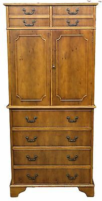 Reproduction Antique Mahogany Tall Boy Cupboard on Chest with Shelved Interior