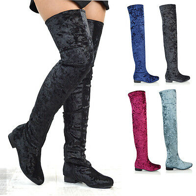 1e76e398612 Womens Flat Long Sock Boots Thigh High Stretch Calf Ladies Over The Knee  Shoes
