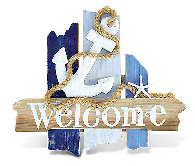 PuzzledAtlantic Anchor Welcome Sign  Handcrafted Wooden Nautical Decor -