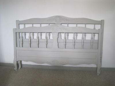 ATTRACTIVE VINTAGE FRENCH DOUBLE BED,  PAINTED OAK, 4ft 6in, PRETTY DECORATION