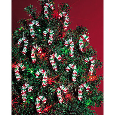 """Holiday Beaded Ornament Kit Mini Candy Canes 2"""" Makes 24 BOK-5501"""