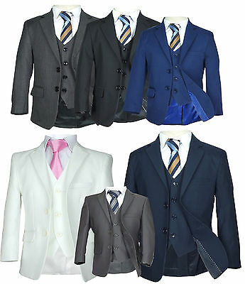 Page Boys Suit Italian Wedding Prom Boys Suit in Black Grey Blue Navy Ivory