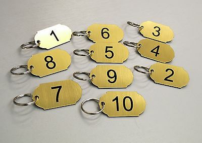 Set of 10 numbered key tags ideal for clubs, leisure centres, school, keyrings.
