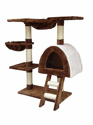 FoxHunter Kitten Cat Tree Scratching Post Sisal Toy Activity Centre Brown CAT001