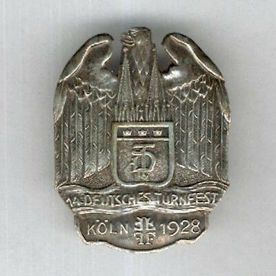 GERMANY. Badge for the 14th German Gymnastics Festival, Cologne, 1928, silver