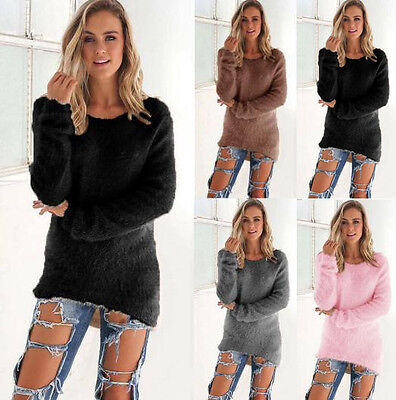 Womens Long Sleeve Loose Cardigan Knitted Sweater Pullover Knitwear Outwear Coat