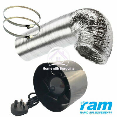 "4"" or 6 inch Inline Duct Air Extractor Booster Fan - Ducting & Hose Clips Option"