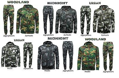 Mens Game Camouflage Tracksuit Army Camo Fleece Hoodie Zipper Joggers Jogging