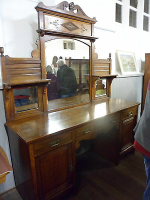 Antique Art Nouveau, Scottish Arts and Crafts tri mirrored oak sideboard dresser