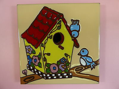 "Ceramic Art Tile 6""x6"" Blue birds Cute Bird House Bright hand painted colors F51"