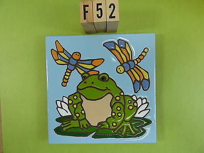 "Ceramic Art Tile 6""x6"" Frog lily pad colorful dragonfly hand painted trivet F52"