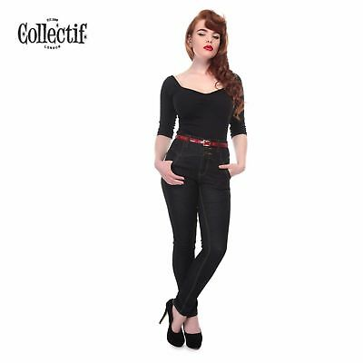 Ladies Collectif Straight Leg Rebel Kate Jeans High Waist Rockabilly Vintage