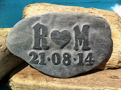 Personalised Love Pebble, hand carved, beach wedding anniversary gift incl date