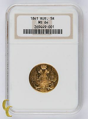 1841СПБ АБ Russia 5 Roubles MS-64 by NGC, Gold Coin C# 175.1
