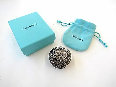 1800s RARE Antique Tiffany & Co Makers Sterling Silver Floral Repousse Pill Box