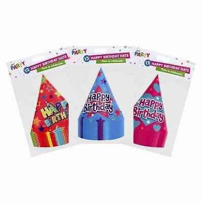 6, 12, 24 Pack - Happy Birthday Party Silver - Paper Cone Hats Fun Game 3 Colour