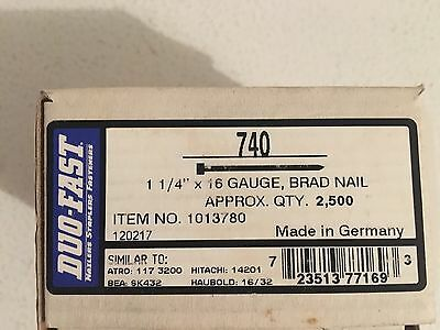 DUO-FAST 740 1 1/4 In. 16 Gauge BRAD NAILS 2500 Count Box Finish Nail