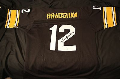 Terry Bradshaw Steelers Signed Black Jersey Authentic Autograph COA included