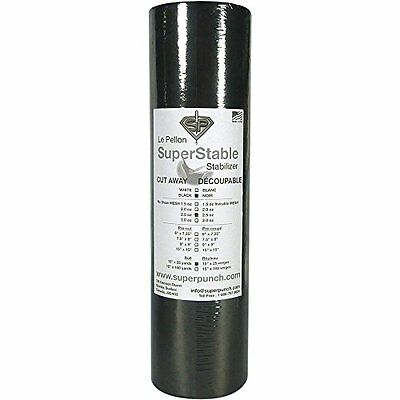 """Cut Away Black 2.5 oz, 15"""" x 25 yards roll. SuperStable Embroidery stabilizer"""