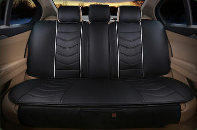 Universal Luxury Car Seat Covers Full Set PU Leather Black for All 5 Seats Car