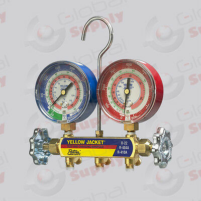 "Yellow Jacket 42005 - Series 41 Manifold Only, 3-1/8"" Gauges, R22/134A/404A, °F"