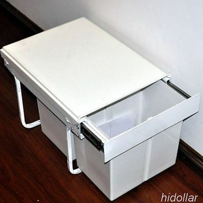 Kitchen Concealed Pull Out Sliding Waste Dual Bin Steel Frame 30L Pullout Bin
