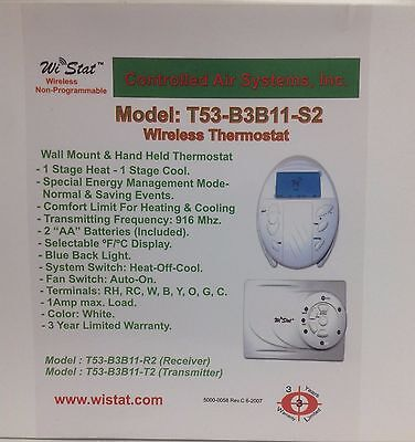 Thermostat Wireless Remote Mobile Hand Held-Wall mount  T53B3B11S2