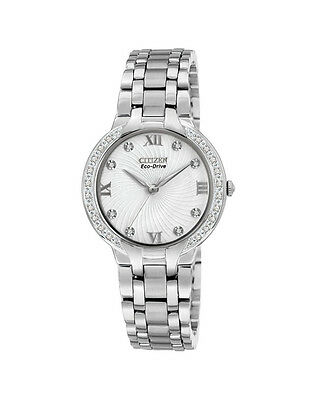 NEW Citizen Ladies Silver Stainless Steel Eco-Drive Diamond Watch - EM0120-58A