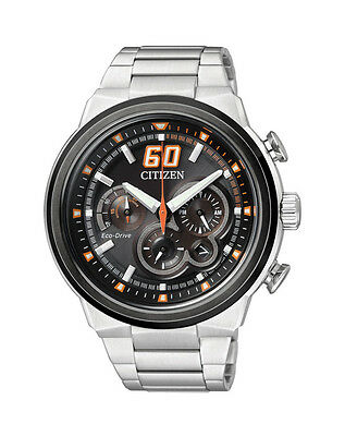 NEW Citizen Mens Stainless Steel Eco-Drive Chronograph Watch - CA4134-55E
