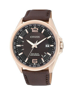 NEW Citizen Mens Gold Eco-Drive Radio Controlled Watch - CB0017-03W
