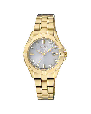 NEW Citizen Ladies Gold Stainless Steel Eco-Drive Diamond Watch - EW1932-54A