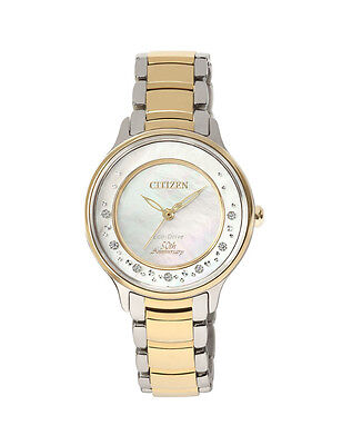 NEW Citizen Ladies Two Tone Stainless Steel Eco-Drive Diamond Watch - EM0385-53D
