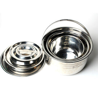Portable Camping Stainless Steel Outdoor Cooking 3Pcs Pot Set & Lid (23-29cm)