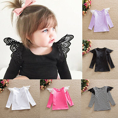 Toddler Baby Girls Kids Lace Sleeve Tops T-shirt Cotton Tee Shirt Blouse Clothes