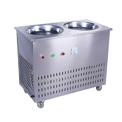 1600 w Stainless Steel Double Pot Single Control Fried Ice Cream Machine