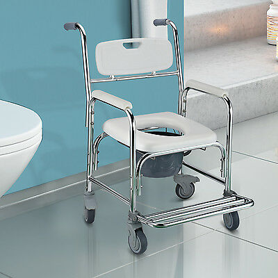 HOMCOM Transit Commode Chair Wheeled Mobile Wheelchair with 4 Brake Castors