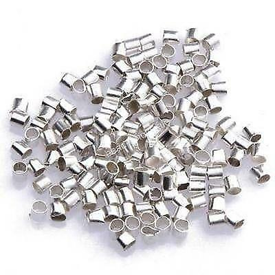 500 x SILVER PLATED 2.5mm TUBE CRIMP BEADS FINDINGS