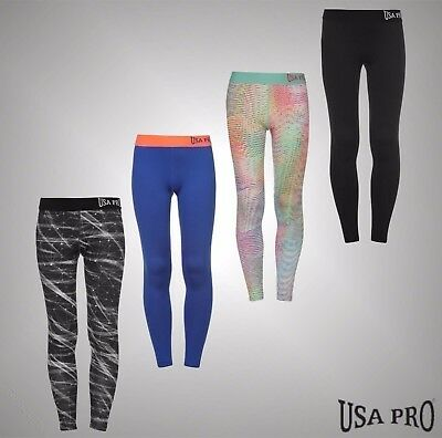 Junior Girls Branded USA Pro Stretch Close Fit Gym Training Tights Size Age 7-13