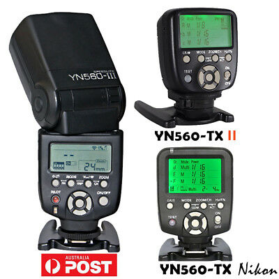 Yongnuo YN-560 III Speedlite Flash Kit / YN560-TX Controller for Nikon Camera AU