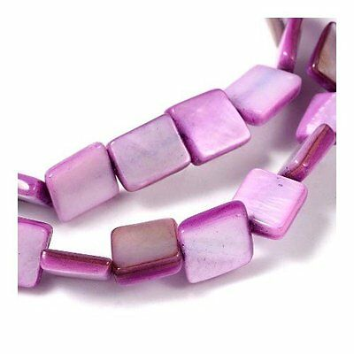 Strand of 40+ Purple Freshwater Shell 8mm Flat Square Beads Y07215