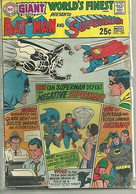 World's Finest #188 DC Silver Age (1969) Comic Book (Giant w. Reprints) VG+/FN-