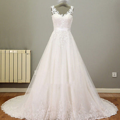 NEW White/Ivory Lace A-line Wedding Dress Bridal Gown Formal Gown Custom Made