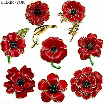 New Large Red Crystal Poppy Pin Brooch Enamel Metal Badge Box Day Gold Uk Seller