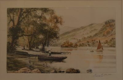 Hand Signed Coloured Landscape Etching by Listed Artist